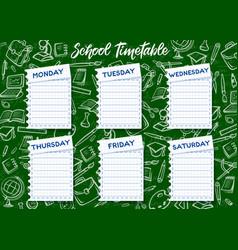 School timetable on chalkboard background vector