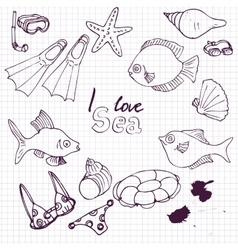 Sea set of sketch vector