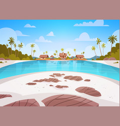 Sea shore beach with villa hotel beautiful seaside vector