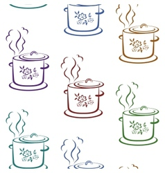 Seamless background kitchen pan vector image
