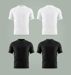 set isolated black and white t-shirt template vector image
