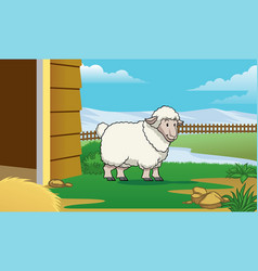 sheep at the farm with cartoon style vector image