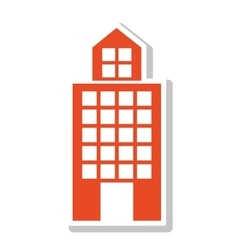 silhouette colorful with office building in orange vector image