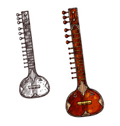 Sitar indian musical instrument isolated sketch vector