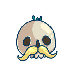 skull character with mustache vector image