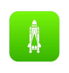 space shuttle icon digital green vector image