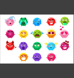 Spherical characters of different colors emoji set vector