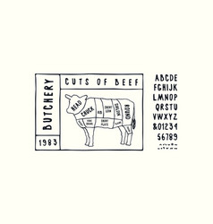 stock beef cuts diagram vector image