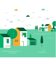 summer season in small town tiny village view vector image