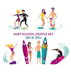 Surf School Decorative Elements Set vector