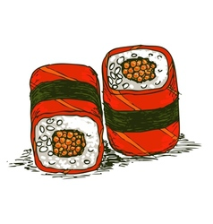 tasty rolls with caviar vector image