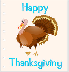 Thanksgiving card template with wild turkey vector