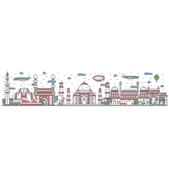 Travel in India country line flat design banner vector image