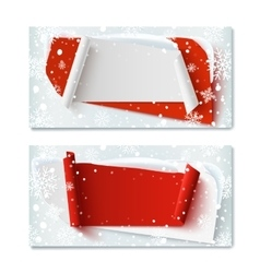 Two blank Christmas Time winter gift vouchers vector image