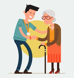Volunteering with the Elderly vector image