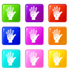 Vr manipulator icons 9 set vector