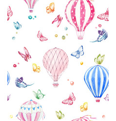 Watercolor air baloon pattern vector