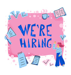 We are hiring concept with girls and text vector