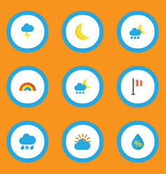 Weather icons flat style set with lightning frost vector