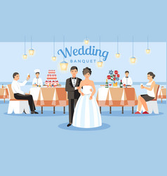 Wedding banquet concept flat vector