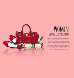 women items and accessories red female objects vector image