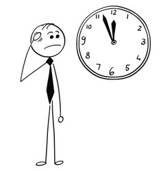 Worried businessman looking at wall clock vector