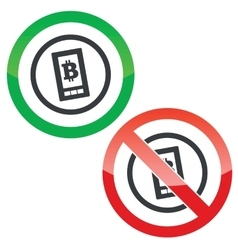 Bitcoin on screen permission signs vector
