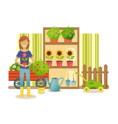 farmer stands near the department with plants vector image