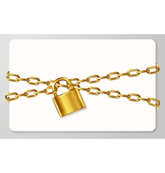 The golden metal chain and padlock handcuffed card vector image vector image