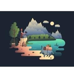 Traveller researcher design flat vector image
