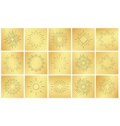 vintage sun burst ray set on golden luxury metal vector image