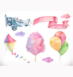 watercolor air kite airplane cotton candy and vector image vector image