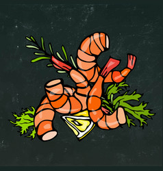 cooked shrimp or prawn cocktail herbs and lemon vector image vector image
