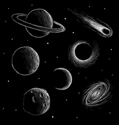 cosmic phenomena and space planets vector image vector image