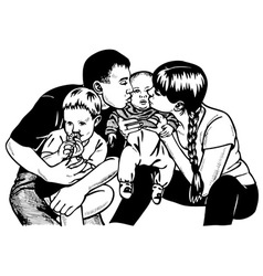 large family vector image vector image