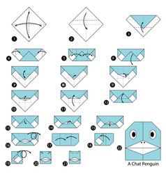 Make origami a chat penguin vector