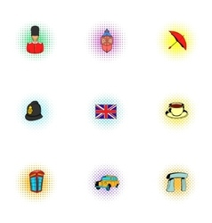 Tourism in United Kingdom icons set pop-art style vector image