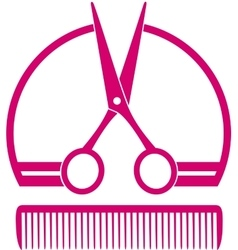 barbershop icon with scissors and comb vector image vector image