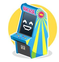 Blue vintage arcade machine game vector