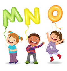 cartoon kids holding letter mno shaped balloons vector image