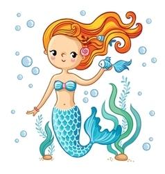 Cute swimming cartoon mermaid vector image vector image