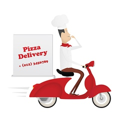 Funny italian chef delivering pizza on red moped vector image