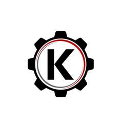 gear solution logo letter k vector image vector image