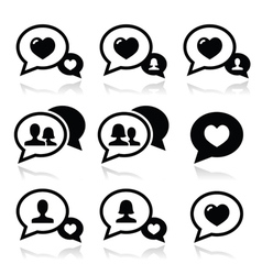 Love speech bubbles couples icons set vector image vector image
