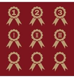 Set of 9 black award icons vector