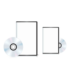 Set of DVD cases with a blank cover and shiny DVD vector image vector image