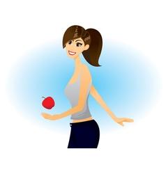 girl apple vector image vector image