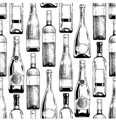pattern with wine and champagne bottles vector image vector image