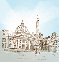 vatican city background hand draw vector image vector image