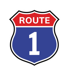 1 route sign icon road highway vector